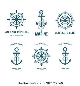 Vector set of different kinds of anchors and steering wheels with the rope.