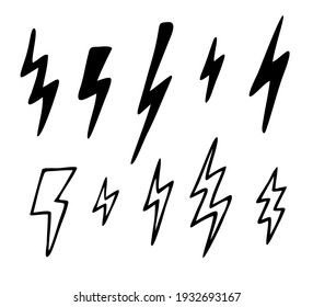 Vector set of different lightning bolts. Hand drawn doodle elements isolated on white background.