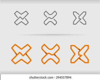 Vector set of different logo ideas with letter x