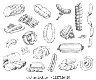 Vector set of different meat products in sketch style. Sausages, ham, bacon, lard, salami. Vector illustration for your design