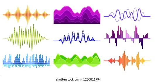 Vector set of different music waves. Sound pulse. Digital waveforms. Audio equalizer. Musical technology