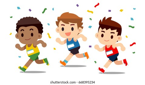 Vector set of different nation cute running men, athlete character isolated on white background.