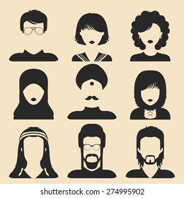 Vector set of different nationality man and woman icons in flat style. People faces or heads images.