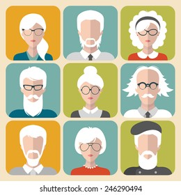 Vector set of different old man and woman with gray hair app icons in flat style