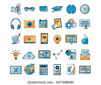 Vector Set Of Different Online Education Icons Isolated Illustration