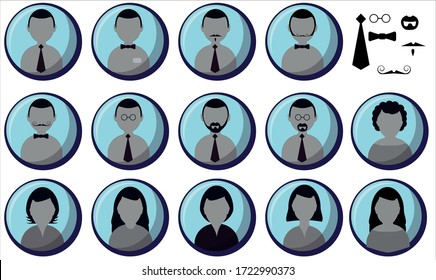 Vector set of different people icon contructor.