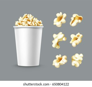 Vector set of different popcorn kernels with white bucket close up side view isolated on gray background