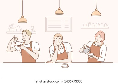 Vector set of different poses of  barista character with cups of coffee. Hand drawn style vector design illustrations.