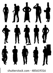 Vector Set Of Different Professions Silhouettes. Vector Image
