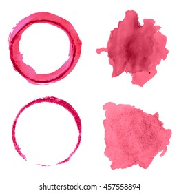 Vector set with different red wine stains isolated on white background.