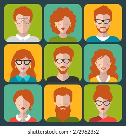 Vector set of different redhead people app icons in flat style. People heads and faces images collection.