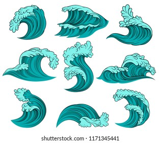 Vector set of different sea waves with foam. High ocean tide. Elements for advertising poster, children book or postcard
