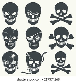 Vector set of different skulls. Black silhouette on a white background, isolated, EPS 8.