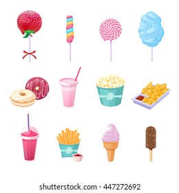 vector set of different snacks and sweets on white background