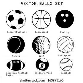 A vector set of different sport balls isolated over white background