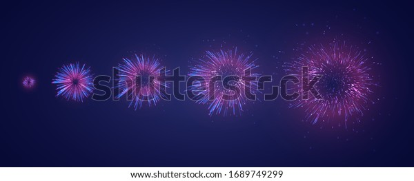 vector set of different stages of a firework explosion on a dark purple background