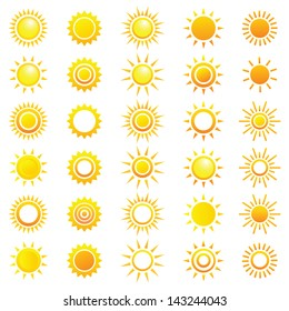 Vector set of different suns.