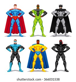 Vector Set Of Different Superheroes Isolated On White Background