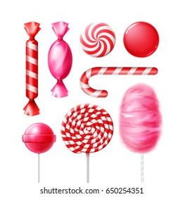 Vector set of different sweets in pink, red striped foil wrappers, swirl lollipops, xmas cane and cotton candy isolated on white background