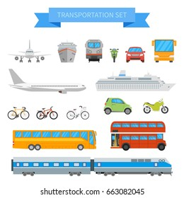 Vector set of different transportation vehicles isolated on white background. Urban transport icons in flat style design. City cars, air plane, ship, train, bus, bicycle.