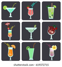 Vector set with different types of cocktails in flat style