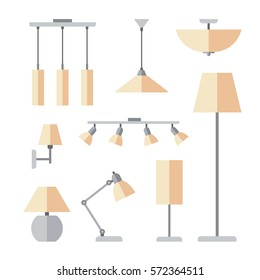 types of ceiling lighting. Vector Set Of Different Types Indoor Lighting: Pendant, Ceiling Light, Spotlight, Lighting