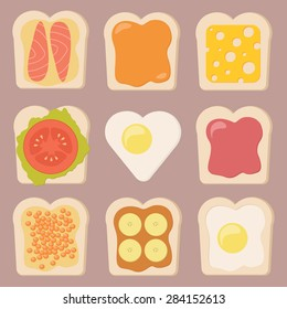 Vector set of different types of toasts