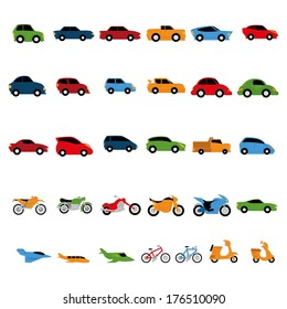 Vector Set Of Different Types Of vehicles Isolated