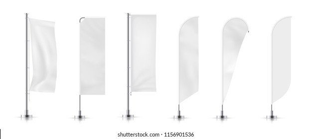 Vector set of  different types white waving advertisement  banner flag.  Vector mock-up.