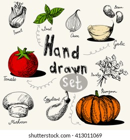 Vector set with different vegetables doodles