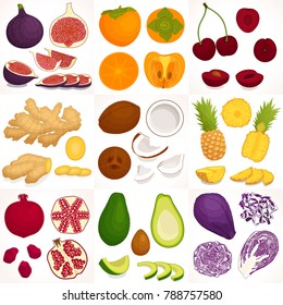 Vector set of different vegetables and fruits. Whole, half and sliced vegetables and fruits.