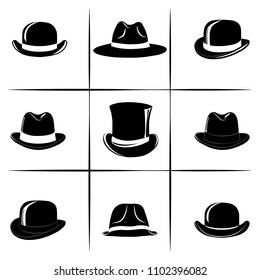 Vector set with different versions of the man`s hats