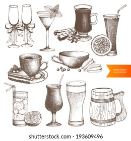 Vector set of different vintage drinks for menu design. Hand drawn dessert and drinks  illustrations isolated on white.