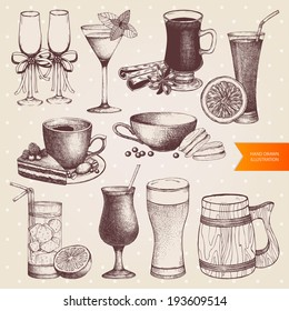 Vector set of different vintage drinks. Hand drawn dessert and drinks  illustrations