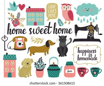 """Vector set of different vintage elements: sewing machine, houses, key, frames, cloud, bird, flowers, leaves, tea cups, kettle, dogs, cat, owl, telephone, beautiful hand written text """"Home sweet home"""""""