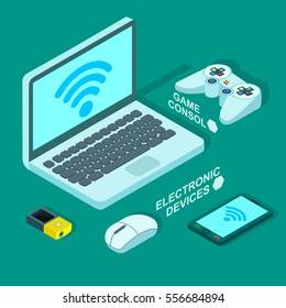 Vector set of  different wireless electronic devices. Illustration of laptop, player,cellphone and game console in flat isometric style