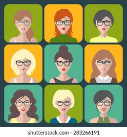 Vector set of different women app icons in glasses in flat style. Female faces or heads collection.
