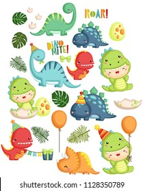 a vector set of dinosaur birthday theme