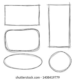 Vector Set of Dirty Sketch Abstract Doodle Frames. Rectangle, Ellipse and Circle.