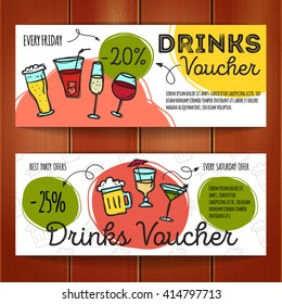 Vector set of discount coupons for beverages. Colorful doodle style alcohol drinks discount voucher templates. Cocktail bar promo offer cards.