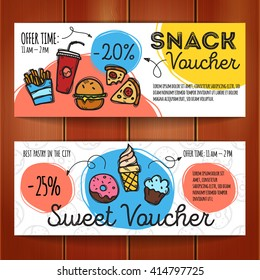 Vector set of discount coupons for fast food and desserts. Colorful doodle style discount voucher templates. Snack promo offer cards.