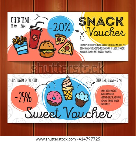 Vector Set Discount Coupons Fast Food Stock Vector (Royalty Free ...