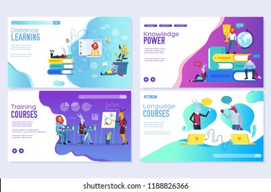 Vector set of distance education, consulting, training, language courses. Modern illustration for website and mobile website development cards. Web page design templates