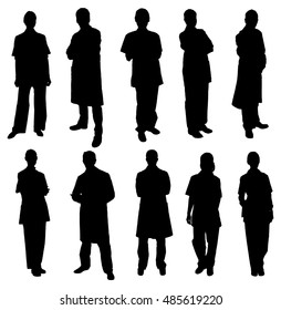 Vector Set Of Doctors Silhouettes Over White Background