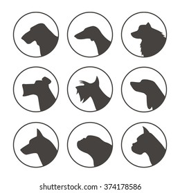 Vector set of dog breed emblems with dog heads in profile. Logos, badges and design elements, perfect for pet shops, veterinary or any other projects related to pets.