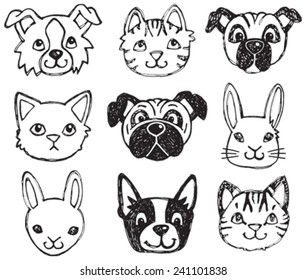A vector set of dog, cat and rabbit faces drawn in a scratchy style in black and white.