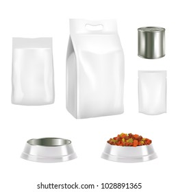 Vector set of dog food pack templates. Pet food white blank paper or foil bag, doy-pack plastic bag, tin can, food bowl realistic packaging mockups isolated on white background.