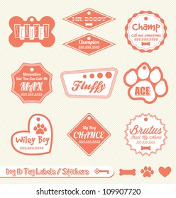 Vector Set: Dog and Pet Identification Tag Labels and Stickers