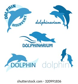 vector set of dolphinarium design of logo with dolphins and label