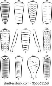 Vector set of doner kebabs in line art mode